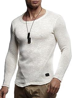 LEIF NELSON Herren Pullover Rundhals-Ausschnitt Slim Fit   Moderner Männer Pulli Sweatshirt Langarm Crew Neck   Herren Hoodie-T-Shirt Langarm in schwarz   LN8105 Ecru Medium