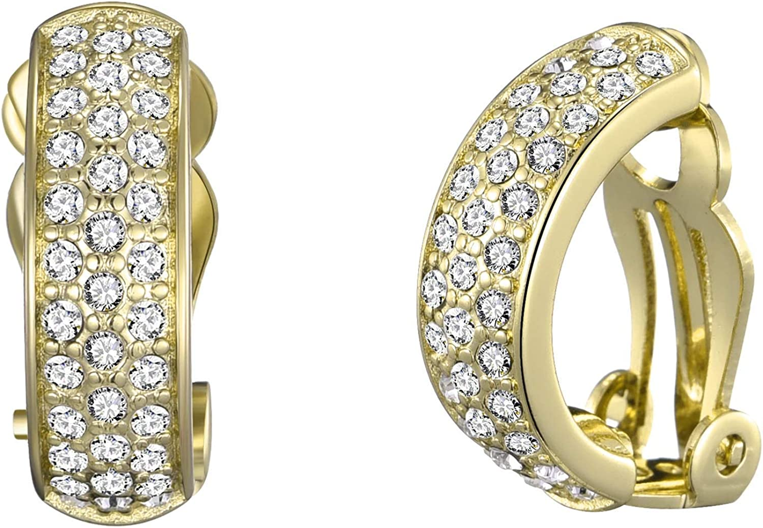 Gold Pave Clip On Earrings Created with Austrian Crystals