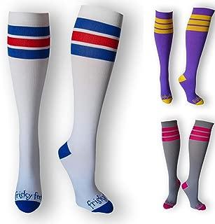 Frisky Feet Classic Athletic Compression Socks Striped 20-30 mmHg Socks Nurses Runners Travel Reduce Swelling