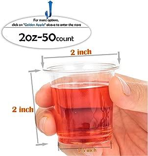 Golden Apple, 2oz Clear Plastic Cups. Disposable Mini Cups, Plastic Shot Glasses, Jello Shot Party Tumblers – 50count. BPA Free.