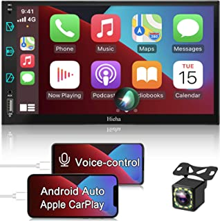 $158 » Double Din Stereo Compatible with Apple CarPlay and Android Auto, Hieha 7 Inch Touch Screen Bluetooth Car Radio Support A...