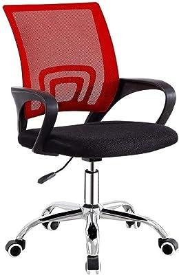 Cadeira de escritório com apoios de braço, costas de malha giratória, moderna, simples, cadeira de conferência, casa, cadeira giratória, cadeira de estudantes, dormitório (cor: azul) - vermelho melhora
