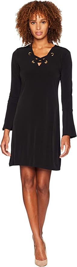Grommet Lacing Matte Jersey Dress