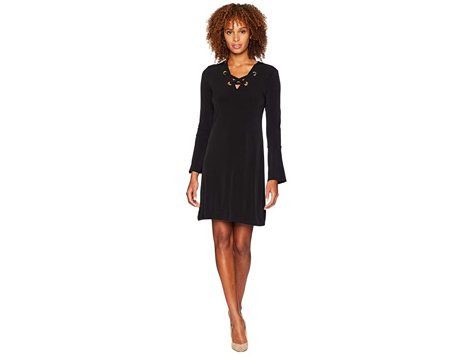 MICHAEL Michael Kors Grommet Lacing Matte Jersey Dress (Black) Women