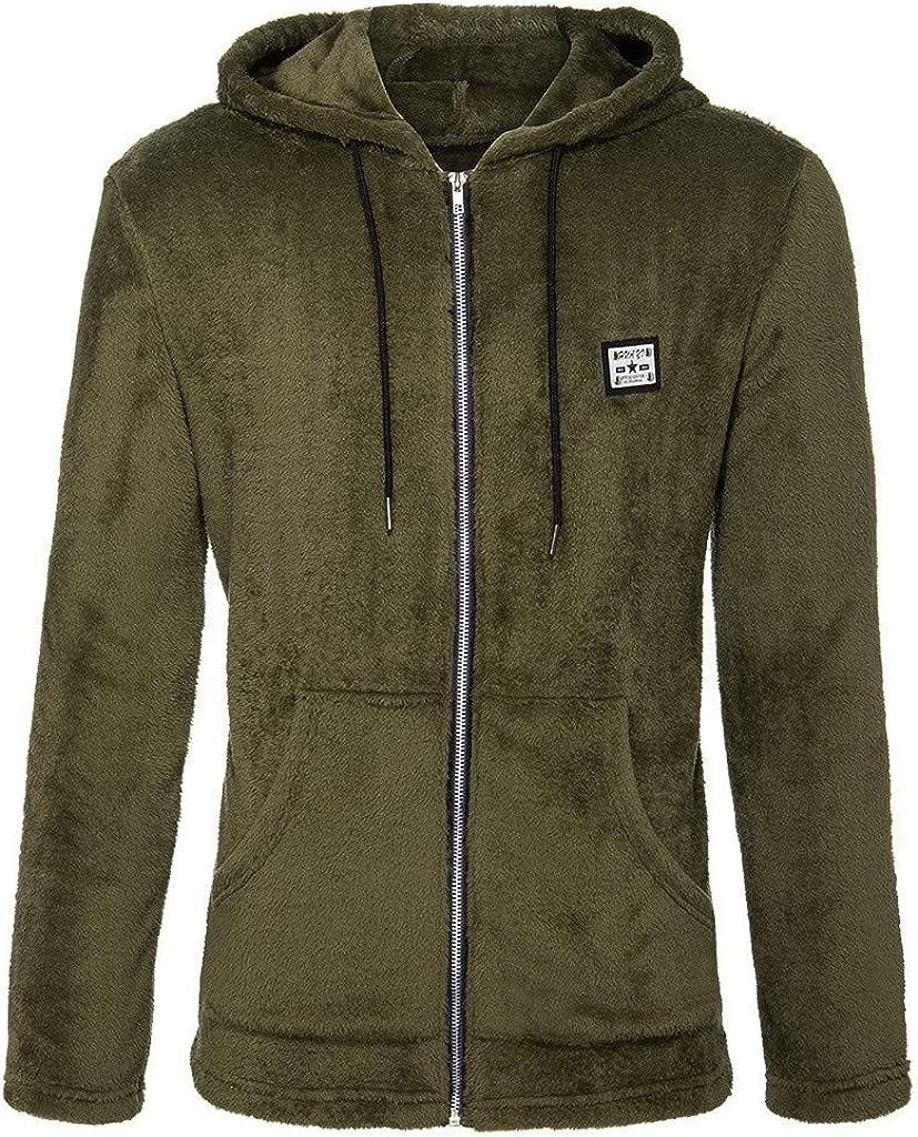 DIOMOR Mens Casual Fleece Warm Full Zipper Hooded Jacket with Kangaroo Pocket Outdoor Thicken Coat Parkas