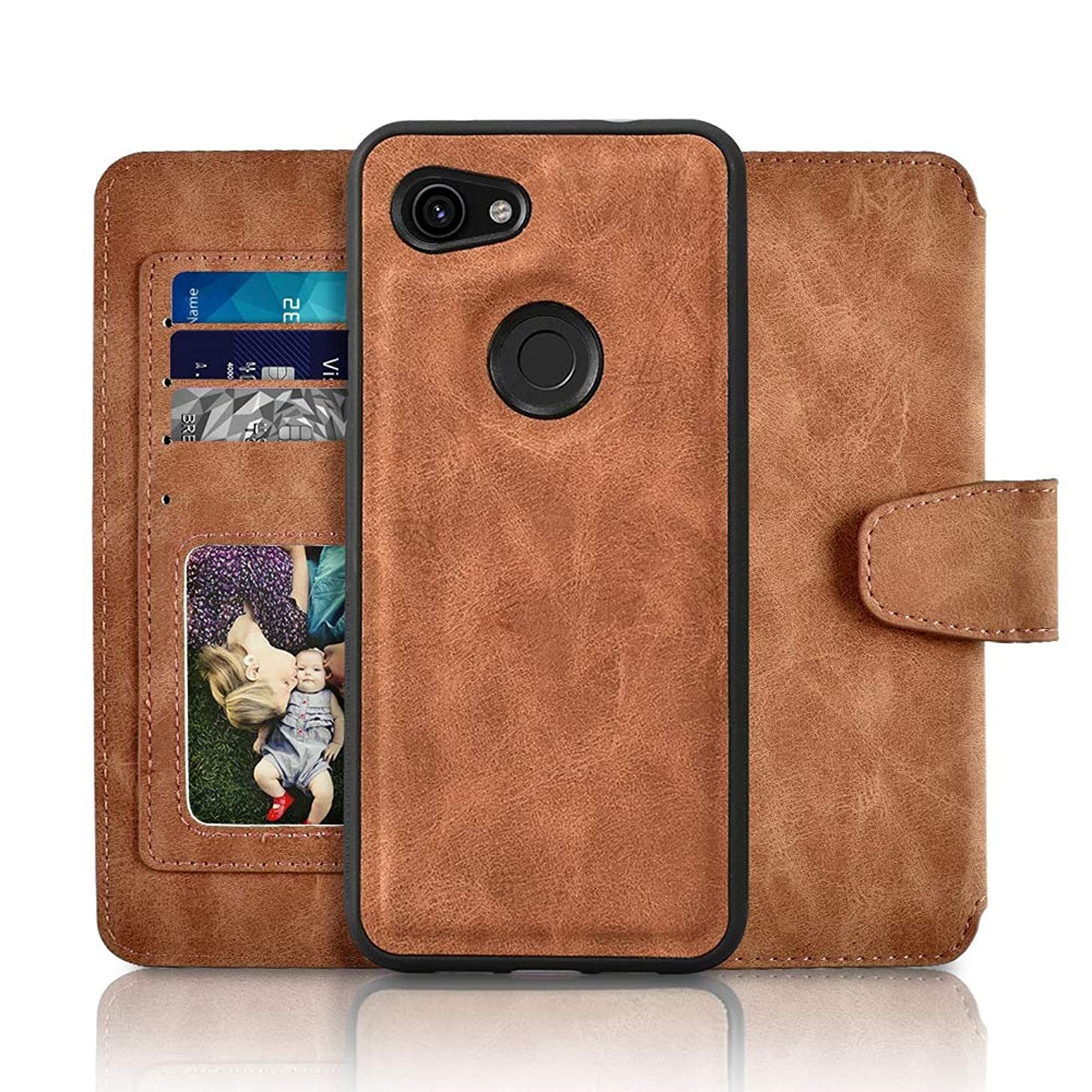 Newseego Compatible with Google Pixel 3a Case, Retro Premium Leather Zipper Purse Detachable Magnetic Flip Shockproof Case with Credit Card Slots Wallet Magnetic Closure for Google Pixel 3a - Brown