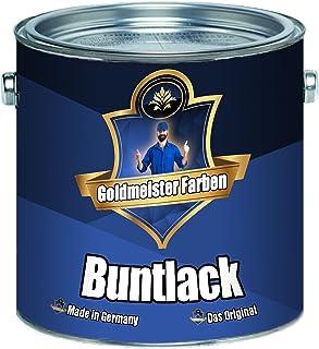 Goldmeister Farben Buntlack für Holz und Metall hochwertiger Kunstharzlack - schnelltrocknender - besonders robuster - universeller Farb-Lack 1 L, Lichtblau RAL 5012