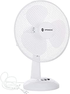 Ventilador de mesa Springos, color blanco, diámetro de 34 mm, 3 niveles de potencia, 35 W, con aprox. Oscilación de 70°. Enfriador de aire. Bajo ruido de funcionamiento.