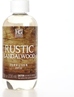 Hosley Premium Rustic Sandalwood Reed Diffuser Refills Oil 230 Milliliter 7.75 Fluid Ounce Made in USA. Ideal GIFT for weddings spa Reiki Meditation settings W1