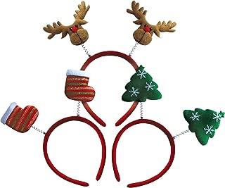 OLYPHAN Headbands for Christmas - Women - Reindeer Antler & Santa Hat Headband Hats - Kids & Adults
