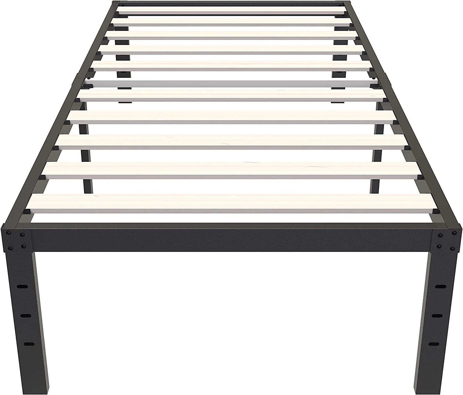 ZIYOO Twin XL Bed Cheap Quality inspection Frame 14 Inch Slat Platform Solid with Wooden