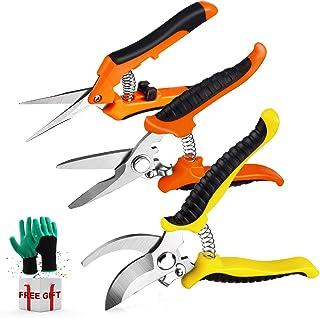تیغه های ضد زنگ دستی Wevove 3 Pack Garden Pruning Shears Pruners Handheld با دستکش های باغبانی تنظیم شده است
