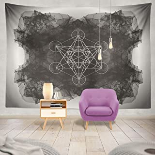 Summor Tapestry Cube Flower Life Wire Frame Mesh Abstract with Lines and Dots Sacred Dot Hanging Tapestries 60 x 80 inch Wall Hanging Decor for Bedroom Livingroom Dorm