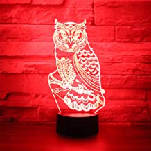 Hguangs Owl Lamp Desk Table Light 3D Optical Illusion Night Light 3D Lamp owl Night Lamp 7 Colors Changing Touch Control Gift for Christmas Birthday Valentine's Day Kids
