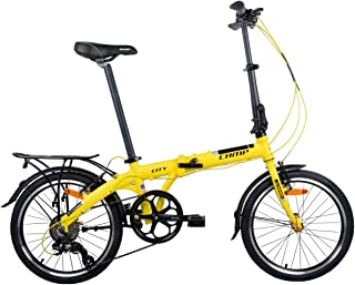 """Camp Folding Bike Aluminum 20"""" 8 Speed with Quick Release Wheels, Rear Rack and Fenders"""