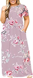 Plus Size Womens Maxi Dresses Short Sleeve Causal Summer Floral Plain Loose T Shirts Long Dress Pockets