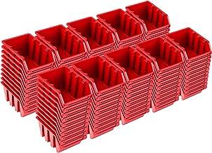 Pafen NP4 - Juego de cajas apilables (100 unidades), color rojo