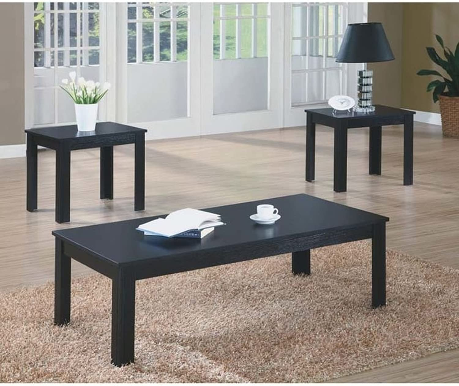 Monarch Specialties 3-Piece Table Set, Black