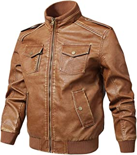 Sunward Men's Autumn Winter Fashion Vintage Zipper Pure Imitation Leather Coat