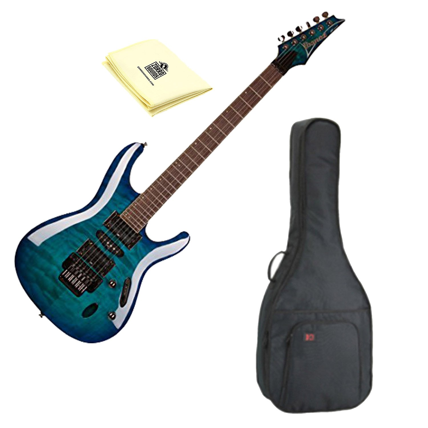 Cheap Ibanez S670QM S Series Solid Body Electric Guitar Sapphire Blue with Kaces KQA-120 GigPak Acoustic Guitar Bag and Custom Designed Instrument Cloth Black Friday & Cyber Monday 2019