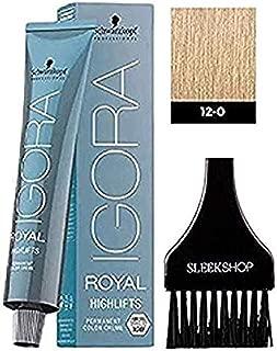 Schwarzkopf IGORA Royal HIGHLIFTS Permanent Hair Color Creme (with Sleek Tint Applicator Brush) Haircolor Cream (12-0 Special Blonde)