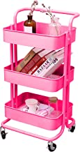 3-Tier Metal Mesh Storage Utility Cart with Brake Caster Wheels, Rolling Cart with Utility Handle, Pink