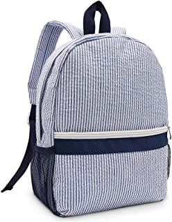 Seersucker Backpack Kindergarten Toddler Backpack Preppy Kids School Bookbag (Blue)