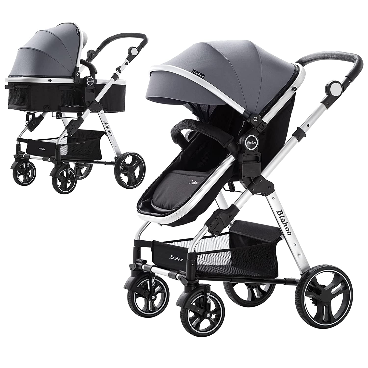 Blahoo Baby Stroller for Toddler .Foldable Aluminum Alloy Pushchair with Adjustable Backrest.Strollers Add Stroller Cover, Cup Holder, Net (Grey)