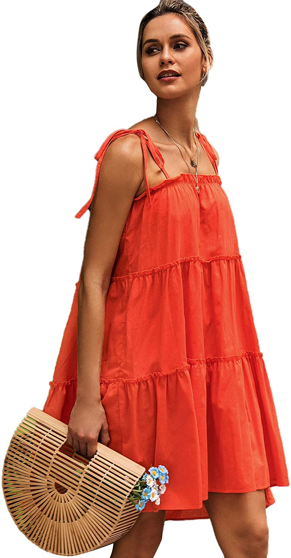 Romwe Women's Sleeveless Spaghetti Strap Tiered Layer Frill Knot Loose Summer Cami Dress