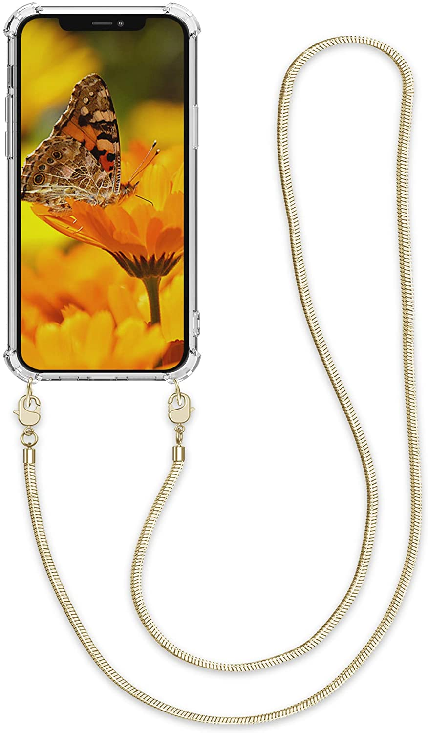 kwmobile Case Compatible with Apple iPhone 12 Pro Max - Crossbody Case Clear Transparent TPU Phone Cover with Metal Chain Strap - Transparent/Gold