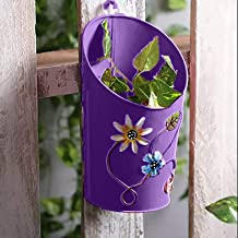 Gadgets Appliances Half Moon Shaped Wall Planter Powder Coated, Rust and Leak Proof - Vertical Planter (Purple)