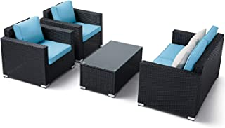 Oakmont Outdoor Patio Furniture 4-Piece Conversation Set All Weather Wicker with Sky Blue Cushion Black Coffee Table Backyard, Garden