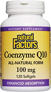 Natural Factors, Coenzyme Q10 100mg, CoQ10 Supplement for Energy, Heart and Antioxidant Support, 120 softgels (120 servings)