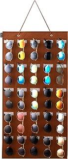 KGMCARE Sunglasses Organizer Storage- Hanging Eyeglasses Wall Pocket Mounted,Eyewear Display,25 Slots (Brown, Large)