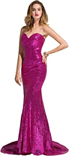 Laceshe Brilliant Mermaid Sweetheart-Neck Sequins Prom Pageant Dresses Evening Gown