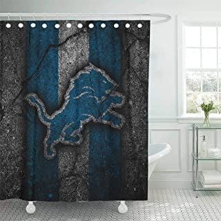 Ladble Decor Shower Curtain Set with Hooks Detroit Citty Lions Black Stone Football Art Asphalt Texture South Division 72 X 78 Inches Polyester Waterproof Bathroom
