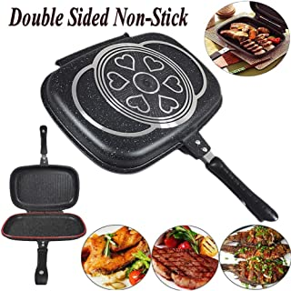 New Double-sided Portable BBQ Grill Pan Nonstick Omelette Pan Flip Pan Square Jumbo Frying Pan Grill Cookware for Indoor a...