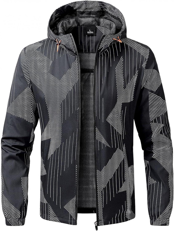 VEKDONE Mens Jacket Slim Fit Lightweight Softshell Long Sleeve Full Zip Sports Fitness Workout Gym Hooded Jackets Coat