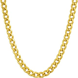 Lifetime Jewelry 5mm Cuban Link Chain Necklace for Women & Men 24k Gold Plated with Free Lifetime Replacement Guarantee
