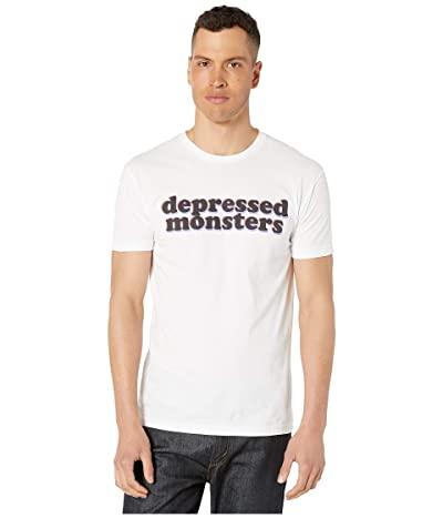 Depressed Monsters 3D Logo Premium Tee (White) Men
