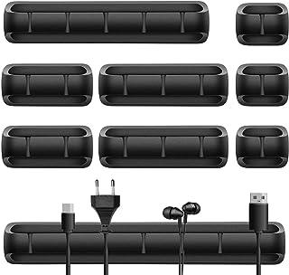 URAQT Clips de cables, 9pcs Gestión de Cables Eléctricos con caja de PP, Grapas de Cable con Autoadhesivo Fuerte para Escritorio, Automóvil, Pared - Negro