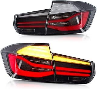 YUANZHENG LED Sequential Tail Lights for [BMW F30 F35 Sedan 6th Gen 2013 2014 2015] with Fiber Optic DRLs YAB-BW-0293CB, Black