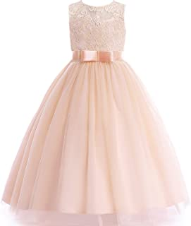 Glamulice Girls Lace Bridesmaid Dress Long A Line Wedding Pageant Dresses Tulle Party Gown Age 3-16Y