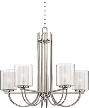 """Melody Brushed Nickel Chandelier 26 3/4"""" Wide Modern Curved Arms Clear Frosted Glass 5-Light Fixture for Dining Room House Fo"""