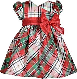 Bonnie Jean Short Sleeve Christmas Dress with Tartan Plaid and Bow at Waist