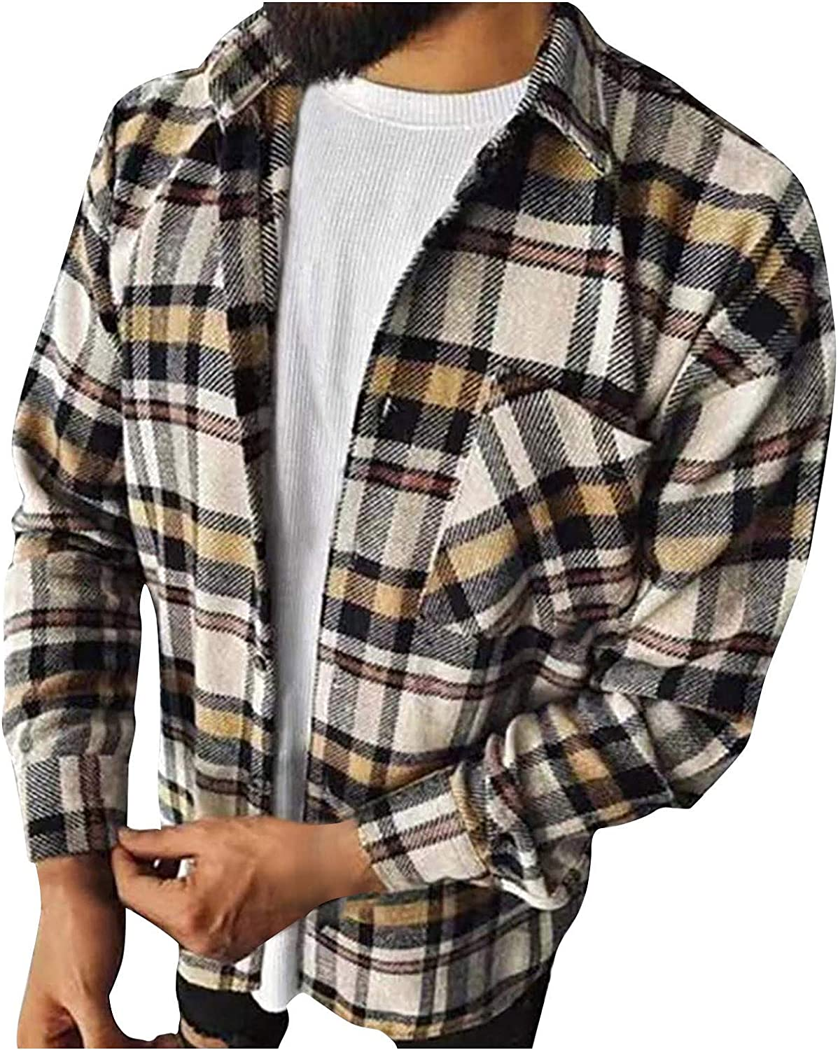 Men's Plaid Stamp Jackets,Long Sleeved Warm Lined Plush Thicken Shirt V195