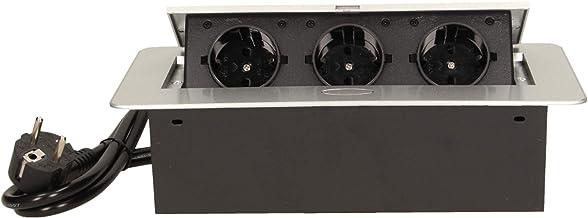 Orno OR-AE-1337(GS) Inbouw Stekkerdoos 3-Voudig    2500W Max    Gereed Voor Aansluiting met 1,5m Schuko Kabel (Zilver)