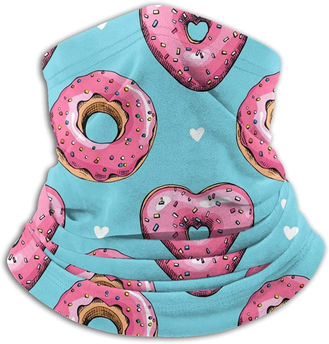 Lastbest Pink Heart Donuts Neck Warmer Multifunction Scarf Hat Neck Gaiter Neck Cap Bala Windproof Neck Heating Wrap Outdoor Sports One Size