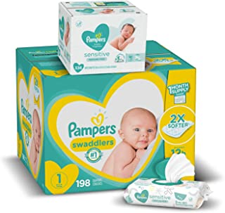 Sponsored Ad - Diapers Size 1, 198 Count and Baby Wipes - Pampers Swaddlers Disposable Baby Diapers and Water Baby Wipes S...