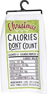 Primitives by Kathy Glitter Kitchen Towel - Christmas Calories Don't Count